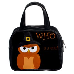 Halloween witch - orange owl Classic Handbags (2 Sides)