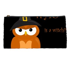 Halloween witch - orange owl Pencil Cases