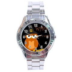 Halloween witch - orange owl Stainless Steel Analogue Watch