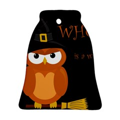 Halloween witch - orange owl Ornament (Bell)