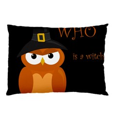 Halloween witch - orange owl Pillow Case (Two Sides)