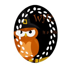 Halloween witch - orange owl Oval Filigree Ornament (2-Side)