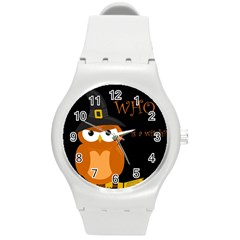 Halloween witch - orange owl Round Plastic Sport Watch (M)