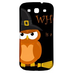 Halloween witch - orange owl Samsung Galaxy S3 S III Classic Hardshell Back Case