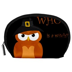 Halloween witch - orange owl Accessory Pouches (Large)