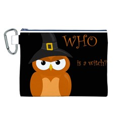 Halloween witch - orange owl Canvas Cosmetic Bag (L)