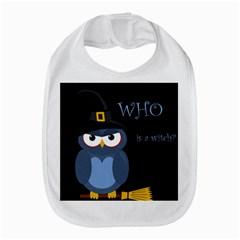 Halloween witch - blue owl Bib