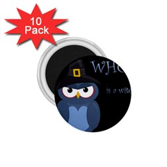 Halloween witch - blue owl 1.75  Magnets (10 pack)