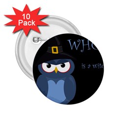 Halloween witch - blue owl 2.25  Buttons (10 pack)