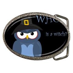Halloween witch - blue owl Belt Buckles