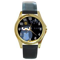 Halloween witch - blue owl Round Gold Metal Watch