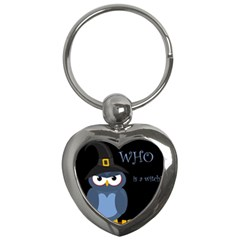 Halloween witch - blue owl Key Chains (Heart)