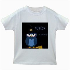 Halloween witch - blue owl Kids White T-Shirts