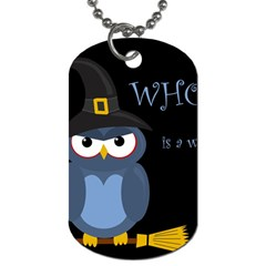 Halloween Witch   Blue Owl Dog Tag (one Side)