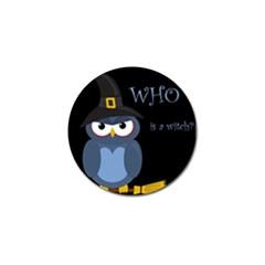 Halloween witch - blue owl Golf Ball Marker