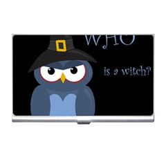 Halloween witch - blue owl Business Card Holders