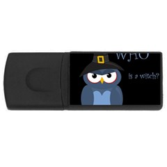 Halloween witch - blue owl USB Flash Drive Rectangular (2 GB)