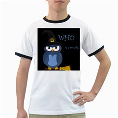 Halloween witch - blue owl Ringer T-Shirts