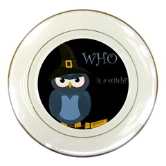 Halloween witch - blue owl Porcelain Plates