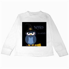 Halloween witch - blue owl Kids Long Sleeve T-Shirts