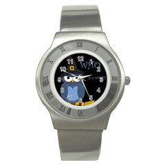 Halloween witch - blue owl Stainless Steel Watch