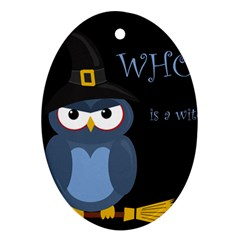 Halloween witch - blue owl Oval Ornament (Two Sides)