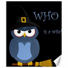 Halloween witch - blue owl Canvas 20  x 24