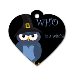 Halloween witch - blue owl Dog Tag Heart (Two Sides)