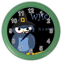 Halloween witch - blue owl Color Wall Clocks