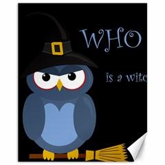 Halloween witch - blue owl Canvas 11  x 14