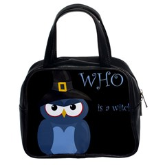 Halloween witch - blue owl Classic Handbags (2 Sides)