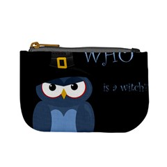 Halloween witch - blue owl Mini Coin Purses