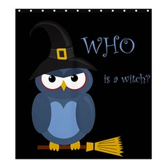Halloween witch - blue owl Shower Curtain 66  x 72  (Large)