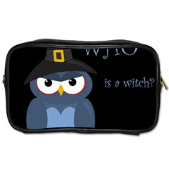 Halloween witch - blue owl Toiletries Bags