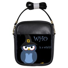 Halloween witch - blue owl Girls Sling Bags