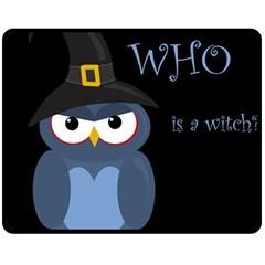 Halloween witch - blue owl Fleece Blanket (Medium)