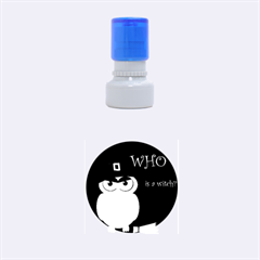 Halloween witch - blue owl Rubber Round Stamps (Small)