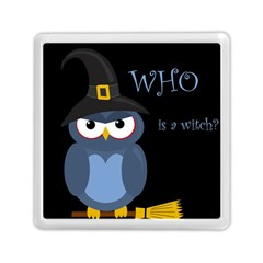 Halloween witch - blue owl Memory Card Reader (Square)