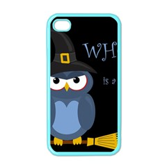 Halloween witch - blue owl Apple iPhone 4 Case (Color)