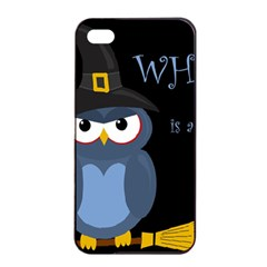 Halloween witch - blue owl Apple iPhone 4/4s Seamless Case (Black)
