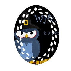 Halloween witch - blue owl Ornament (Oval Filigree)
