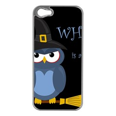Halloween witch - blue owl Apple iPhone 5 Case (Silver)