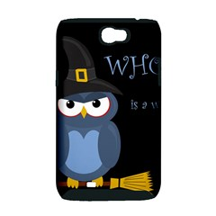 Halloween witch - blue owl Samsung Galaxy Note 2 Hardshell Case (PC+Silicone)