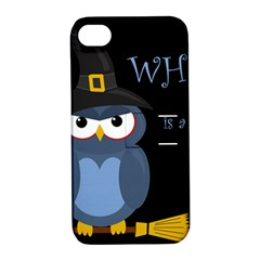 Halloween witch - blue owl Apple iPhone 4/4S Hardshell Case with Stand