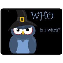 Halloween witch - blue owl Double Sided Fleece Blanket (Large)