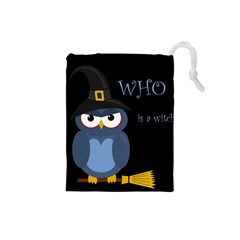 Halloween witch - blue owl Drawstring Pouches (Small)