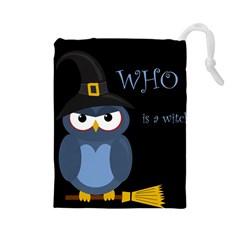 Halloween witch - blue owl Drawstring Pouches (Large)