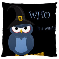 Halloween witch - blue owl Standard Flano Cushion Case (Two Sides)