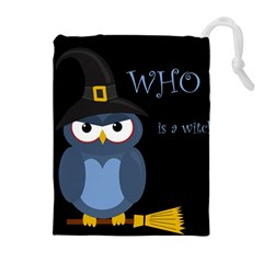 Halloween witch - blue owl Drawstring Pouches (Extra Large)