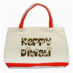 Happy Diwali Greeting Cute Hearts Typography Festival Of Lights Celebration Classic Tote Bag (Red)